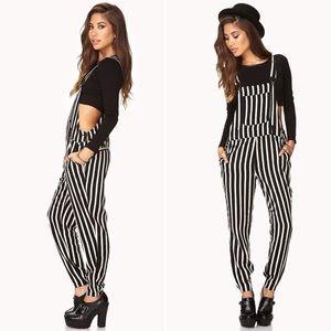 Black and white stripe overalls